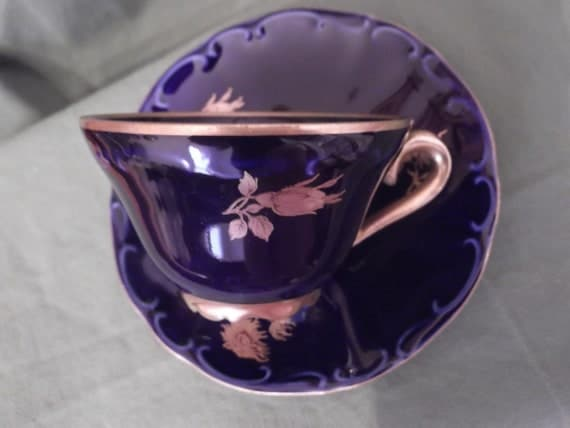 Handpainted Echt Cobalt blues/gold roses demi cup and saucer by Bareuther of Bavaria Germany- circa 1970 - 868