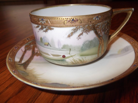 Handpainted Jeweled & Beaded Nippon cup and saucer- circa 1891-1921  -875