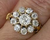 Victorian 14kt Yellow Gold Diamond Cluster Ring , Circa 1865