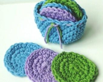 Crochet Scrubbies with Crochet Basket - Set of 7  - Purple, Blue, Green - 100% Cotton