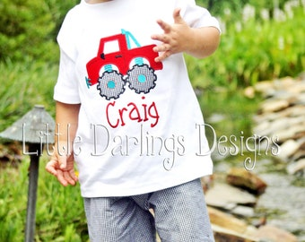 Boys Appliqued and Monogrammed Monster Truck Shirt