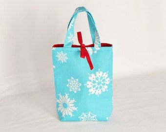 Fabric Gift Bag with Handles Small - Folksy Flakes by Alexander Henry