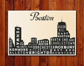 Boston Skyline Print, Typography Poster, Retro Wall Art,  Modern Home Decor - 12x18 - GoingUnderground