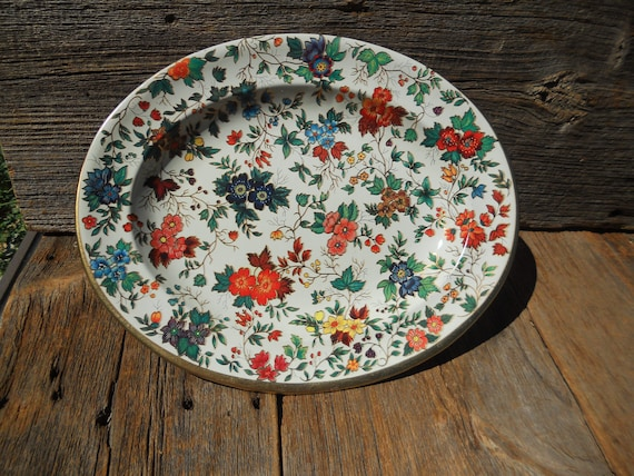 Floral Tin Tray, Bowl, Plate, Wall Hanging