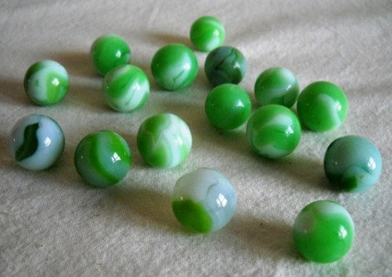 Marbles:  green and white agates