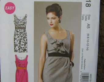 Summer Party Dress Pattern with Bodice Ruffles and Pockets, Super Easy McCalls 6518, Women 's SZ 6 through 14, Uncut