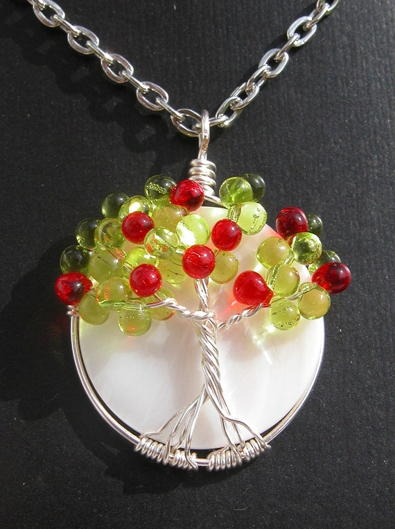 Apple Tree of Life with White Shell Bead - Fall - Autumn