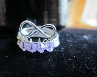 JUNE birthstone infinity ring wire wrapped with lavender purple Swarovski crystals, can be made in any size