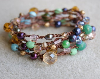 Bohemian crochet wrap bracelet, long necklace, jewelry, mixed gemstones, pink, pearl, green, topaz, turquoise, purple, iris, OOAK, SALE