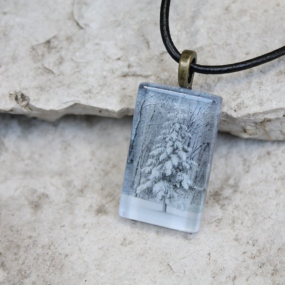 Glass Photo Pendant Necklace White Winter Snowy Tree