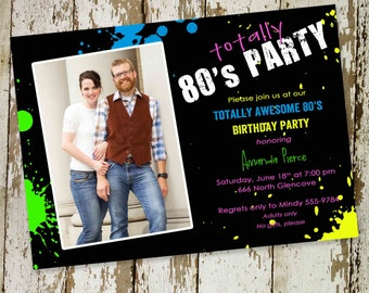 80s themed birthday party invitations, Totally 80s party, digital, printable file (item 214b)