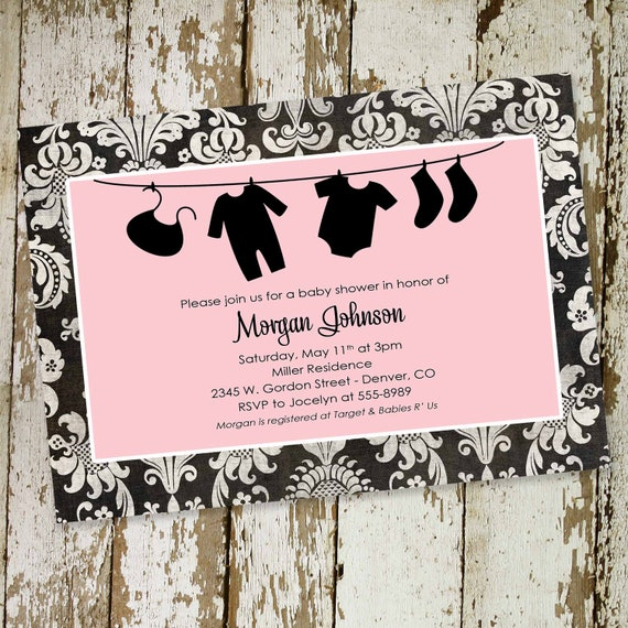 Baby girl shower invitations with laundry and damask, DIY printable (item 1313) baby shower invite