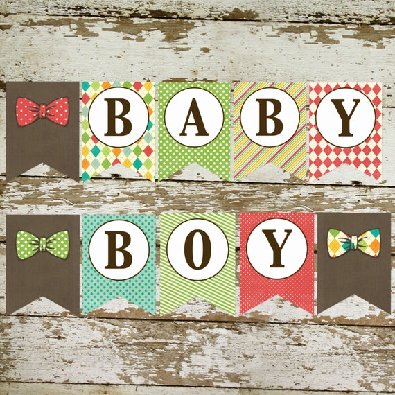Bunting Banner, BABY BOY with Bow Ties Do it your self Instant download