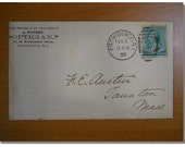 antique envelope 122 years old with stamped Providence, RI Optician rare football shape stamp in back