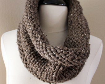Brown Cowl Scarf, Hand Knit Infinity Scarf, Hand Knit Cowl Scarf, Chunky Scarf, Chunky Knit, Snood, Infinity Scarf, Winter Accessories