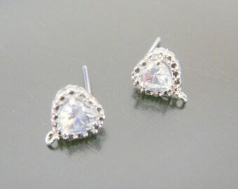 Silver Sterling Silver  Heart Post Drop Crystal earring post Findings, setting, 2 pc, JE505712