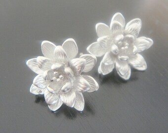 Wholesale Sterling Flower Earring Post Findings, setting, connector, pendants, 2 pc,  BB52113