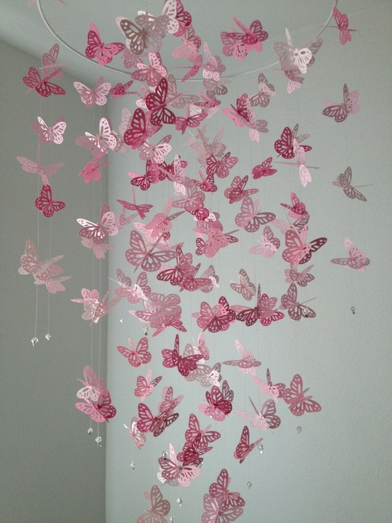 Monarch Butterfly Chandelier   Mobile -Perfectly Pink, girl room mobile, nursery mobile, baby girl mobile, photo prop