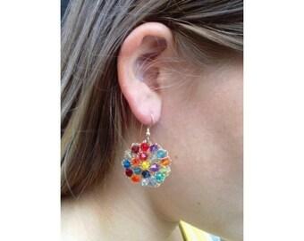 Summer Sparkle Earrings - Colorful Crystal Dangles 14k Gold Filled