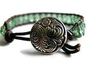 Boho Soft Sage Green Leather Wrap Bracelet with Swirling Waves Button/ Boho Woodland Chic/ Free Shipping - GloryGift