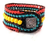 Boho Bright Leather Wrap Cuff Bracelet with Coral, Turquoise and Yellow Beads/ Bright Accessories/ Summer Southwestern Chic/ Free Shipping