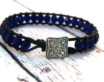 Cobalt India with Blue Beads on Black Leather Wrap Bracelet/ India Girl/ Boho Far East Chic/ Custom Size