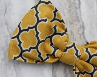 Yellow and Gray Lattice Bow Tie  - clip on, pretied with strap or self tying - freestyle - wedding ties, ring bearer outfit