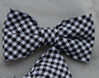 Black and White Gingham Bow Tie - clip on, pre-tied with strap or self tying for men or boys