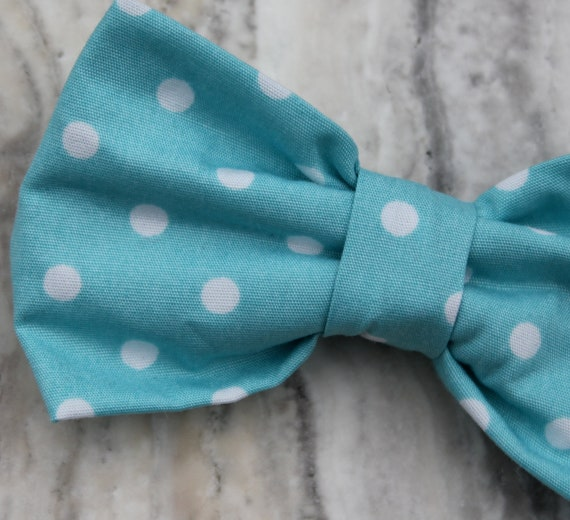 Bow Tie - Organic Turquoise Polka Dot clip on, pre-tied with strap or self tying - ring bearer outfit