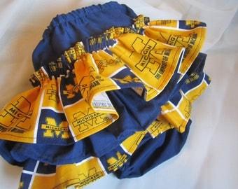 University of Michigan Colors Ruffle Bloomers with Matching Headband  Set --  Football girl - U of M baby  --  Michigan Baby girl