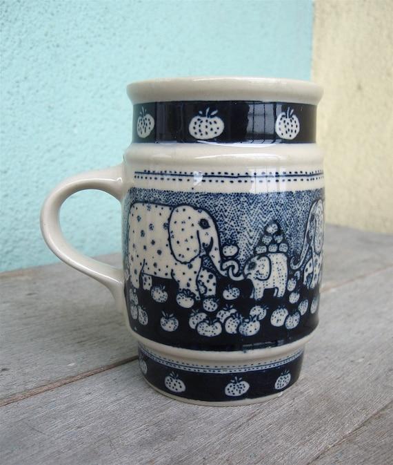 Vintage Taylor and Ng Mug Elephants Cobalt Blue