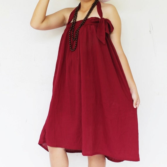 Sweet maroon halter  short  dress