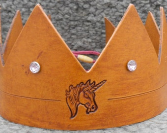 Crown w/Unicorn Emblem - Handmade Leather