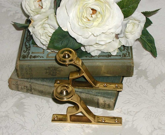 Solid Brass Curtain Rod Brackets - Vintage Style - 2 Pair