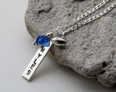 Bar Necklace, Sports Jewelry, Personalized Mothers Necklace, Custom Mothers Gift, Sports Charm, Athlete Gift, Sterling Silver, Graduation