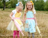 Girls Apron, Yellow Dot Apron, Spring Floral with Pink Ties, Toddler Apron & Kids sizes 1-8 years