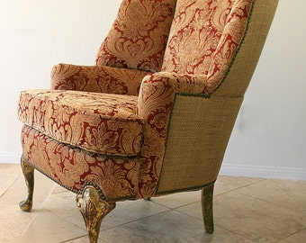 Custom Order  Wing Back Chair  Select your fabric, Gold leaf Carved Legs