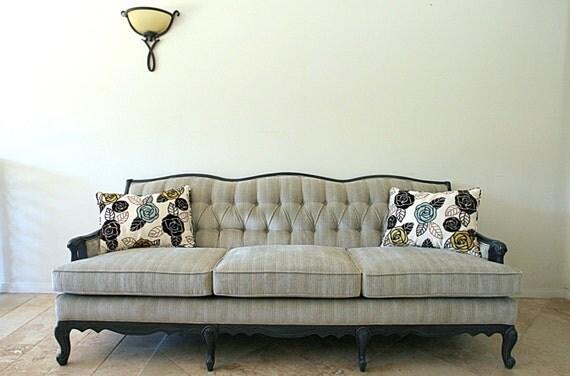 RESERVED FOR  M..........Mid Century Sofa Chic Wood Frame Pale Aqua Velvet