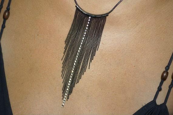 Art Deco Style. Retro. Fringe Necklace. Black Chain Necklace. Vintage 70s