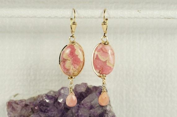 Rhodochrosite Earrings  14K gold Filled / Pink Peruvian Opal /Precious stone /Dangle/ Chandelier