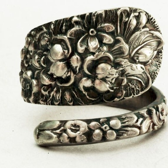 Antique Stieff Forget Me Not Floral Sterling Silver Spoon Ring, Made in YOUR Size (2465)