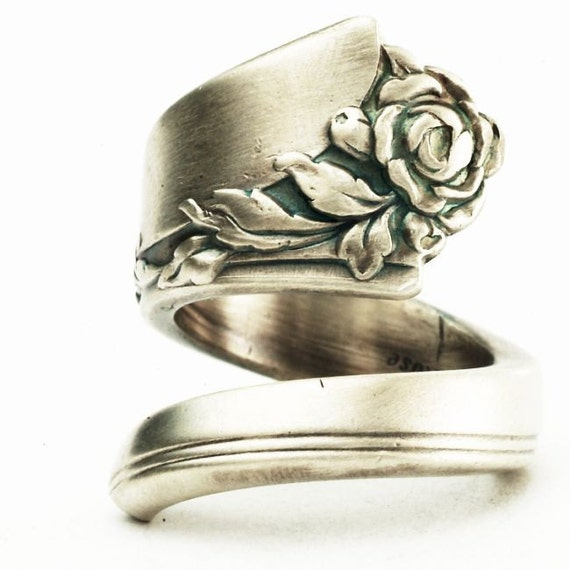 Spoon Ring Damask Rose Floral Minimalist Sterling Silver Ring, Handcrafted in Your Size (2583)
