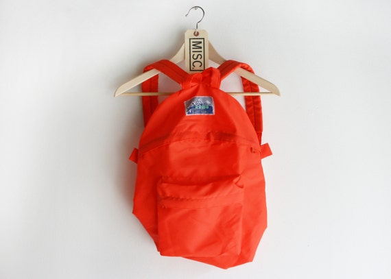 Vintage Arctic Hi Bright Orange Nylon Hiking / Camping Backpack