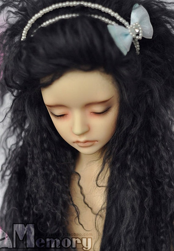 "10in"" Long Grey Black  Mohair Wavy Wig (Size: 24cm) for Volks BJD SD Dolls"