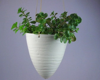 Two Off white  Textured Hanging Planters Ready to ship