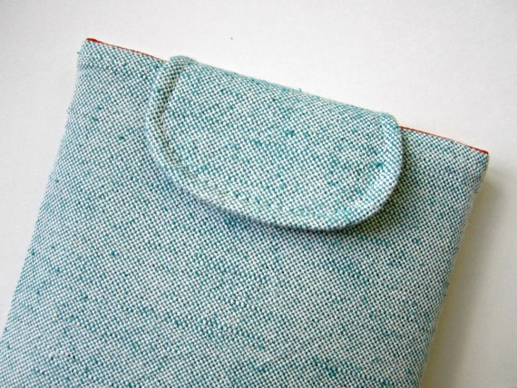 NEW - Kindle Case, Kindle Cover, Kindle Sleeve - Aqua Cotton Canvas with Dense Foam Padding