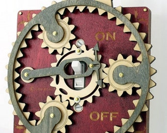 Planetary Gear Light Switch Plate - Red and Gray