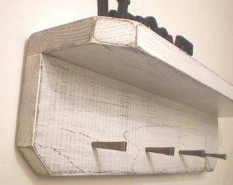 Key Hook Shelf, Shabby Chic Wall Shelf with Masonry Nails, Beach Decor, Shelf with Hooks, Jewelry Holder, Country Decor
