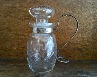 Vintage English condiments sauce glass oil jar with metal handle circa 1930-40's / English Shop