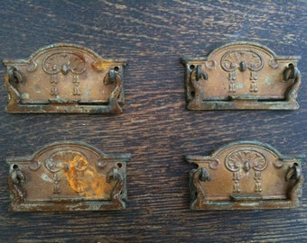Antique English four 4 rusty drawer handles circa 1900's / English Shop